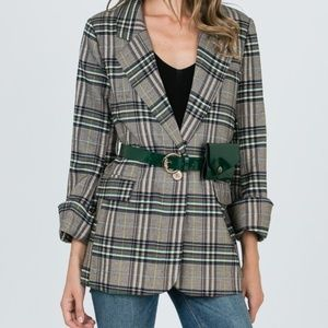 Jackets & Blazers - 🆕 Plaid Single Button Blazer with Wallet Belt